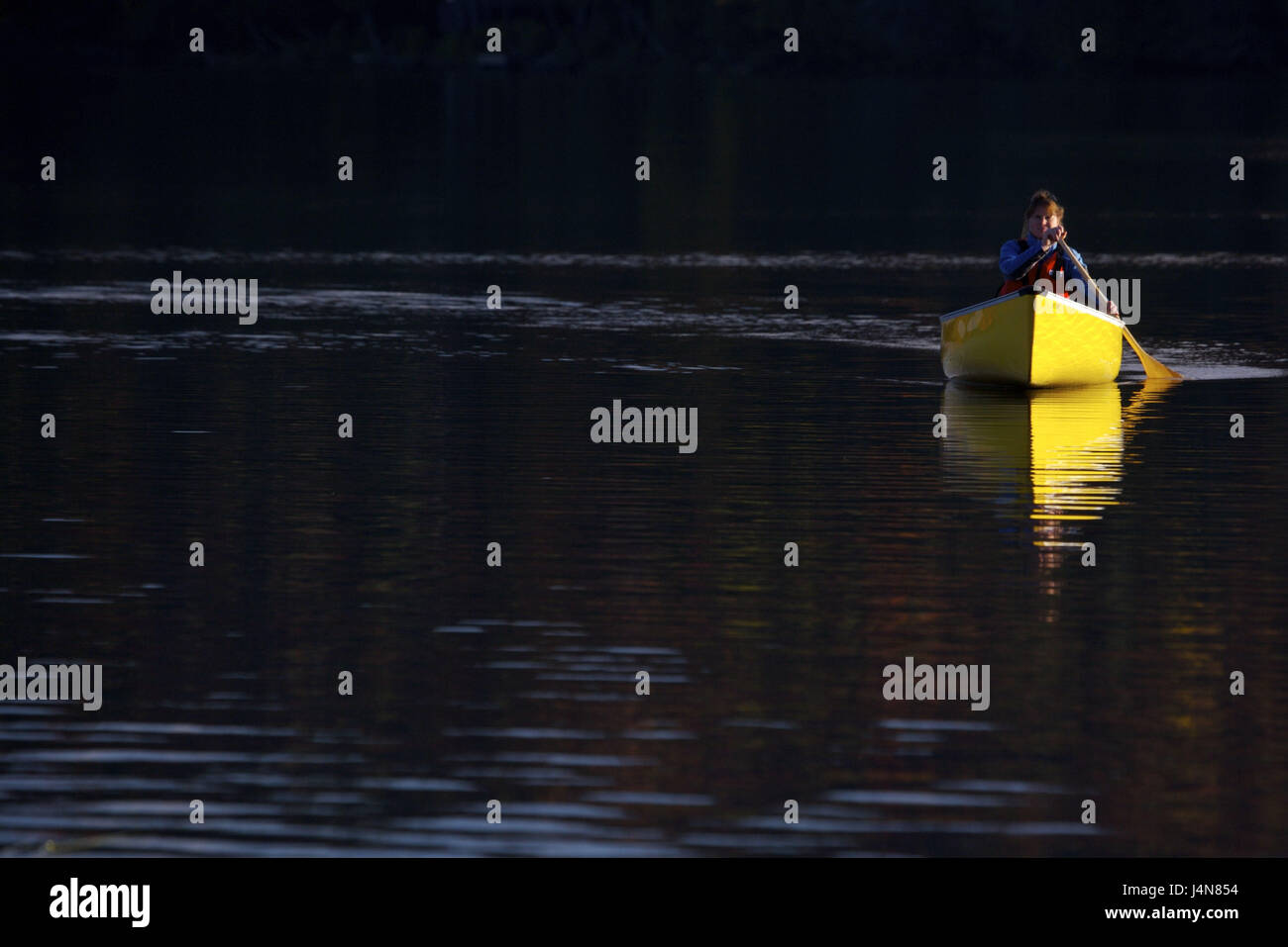 Lakes, woman, canoe, paddle, rock brine, Algonquin Provincial park, Ontario, Canada, - Stock Image