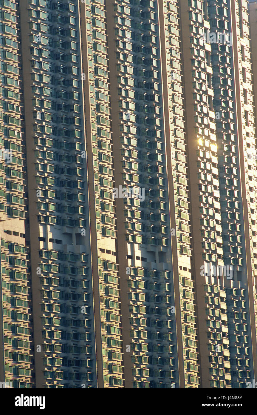 China, Hong Kong, Lantau Iceland, Tung Chung, high rise, facade, detail, Asia, town, island, building, house, residential - Stock Image