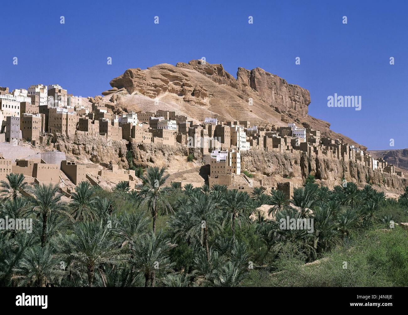 Yemen, wadi Hadramaut, rocks, houses, close Schibam, the Near East, Yemen, East, Hadhramaut, Hadramut, village, - Stock Image