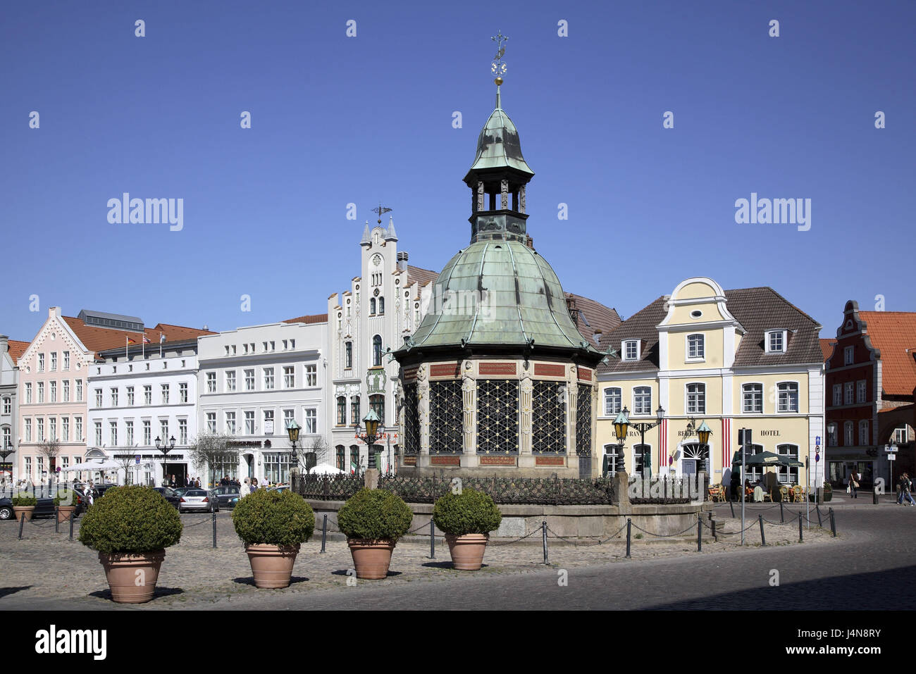 Germany, Mecklenburg-West Pomerania, Wismar, in the market, water art, - Stock Image