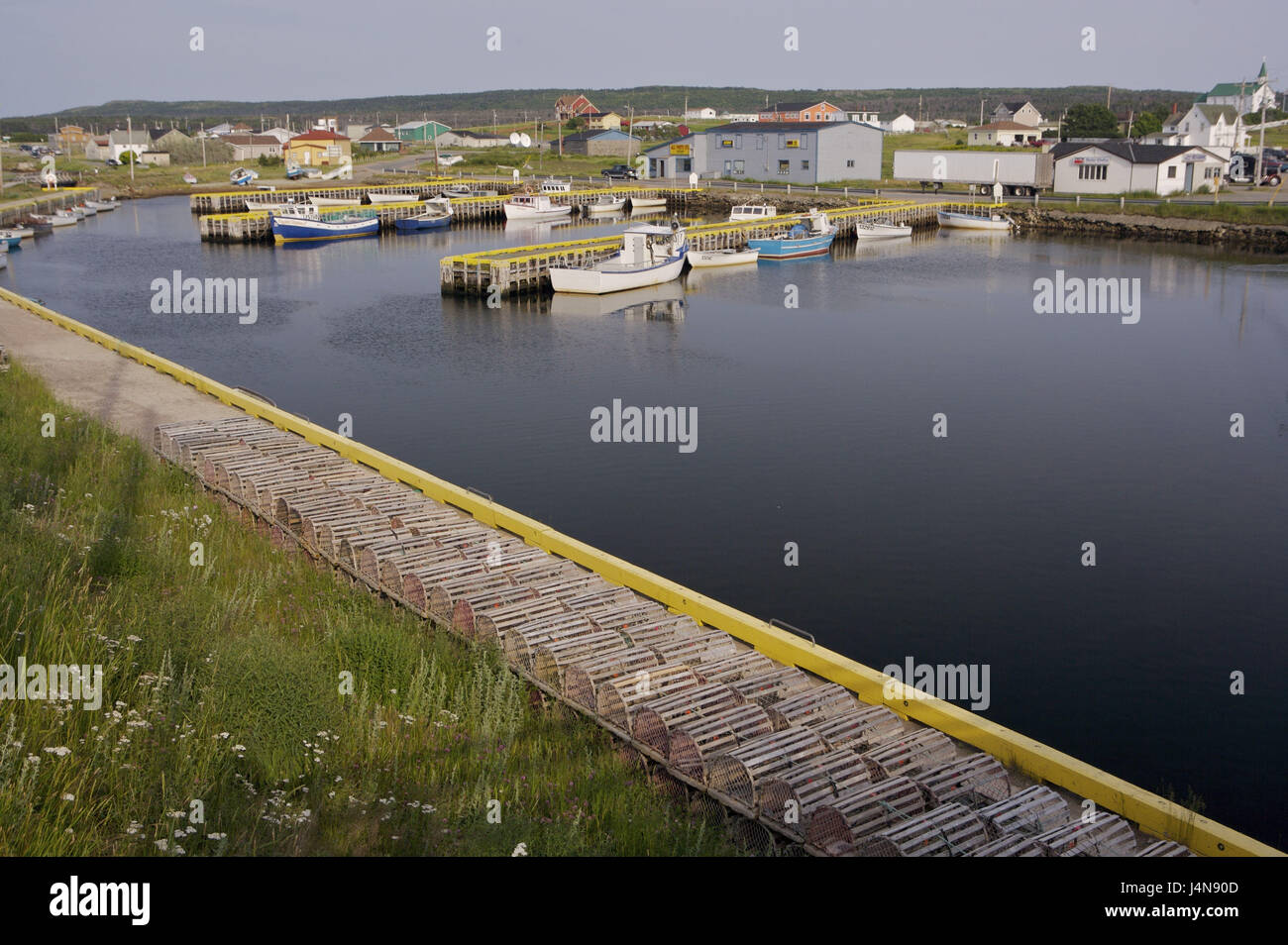 Canada, Newfoundland, Bonavista, harbour view, boats, lobster traps, - Stock Image
