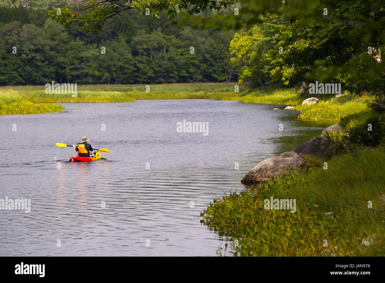 Tourist, Kayak, back view, Mersey River, Kejimkujik Nationwide park, Nova Scotia, Canada, - Stock Image