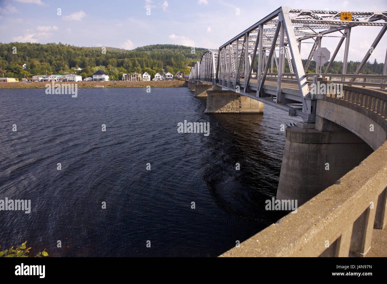 Andover bridge, Saint John River, hard country, New Brunswick, Canada, - Stock Image