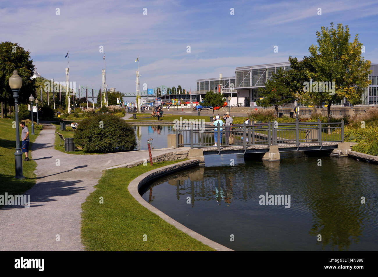 Pond, promenade of the Artistes, tourist, Old Montreal, Old port, King Edward Basin, Montreal, Canada, - Stock Image