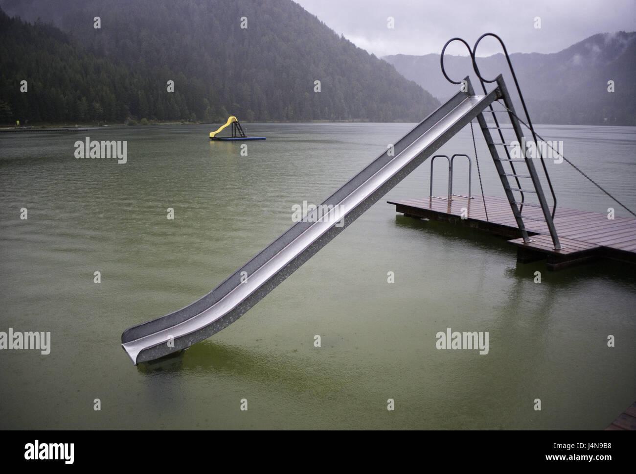 Austria, Styria, Erlaufsee, children\'s slides, lake, bath lake ...