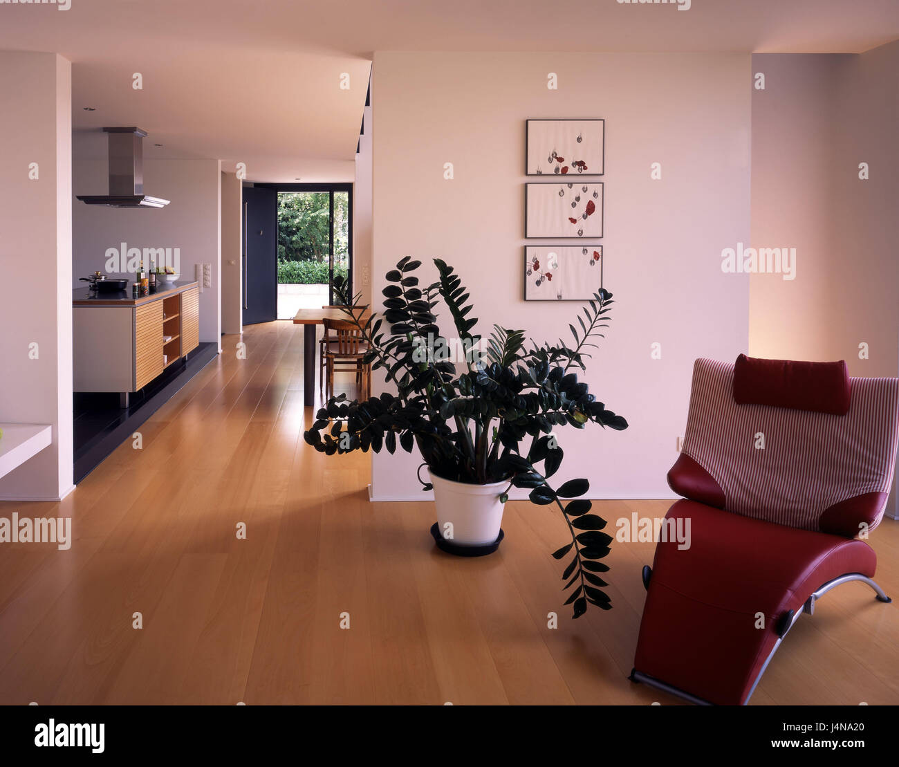 ... Armchair, Indoor Plant, Passage, Cuisine, Terrace Door, Flat, Living,  House, Ground Floor, Inside, Detail, Setup, St. Of Furniture, Couch, Seat  Couch, ...