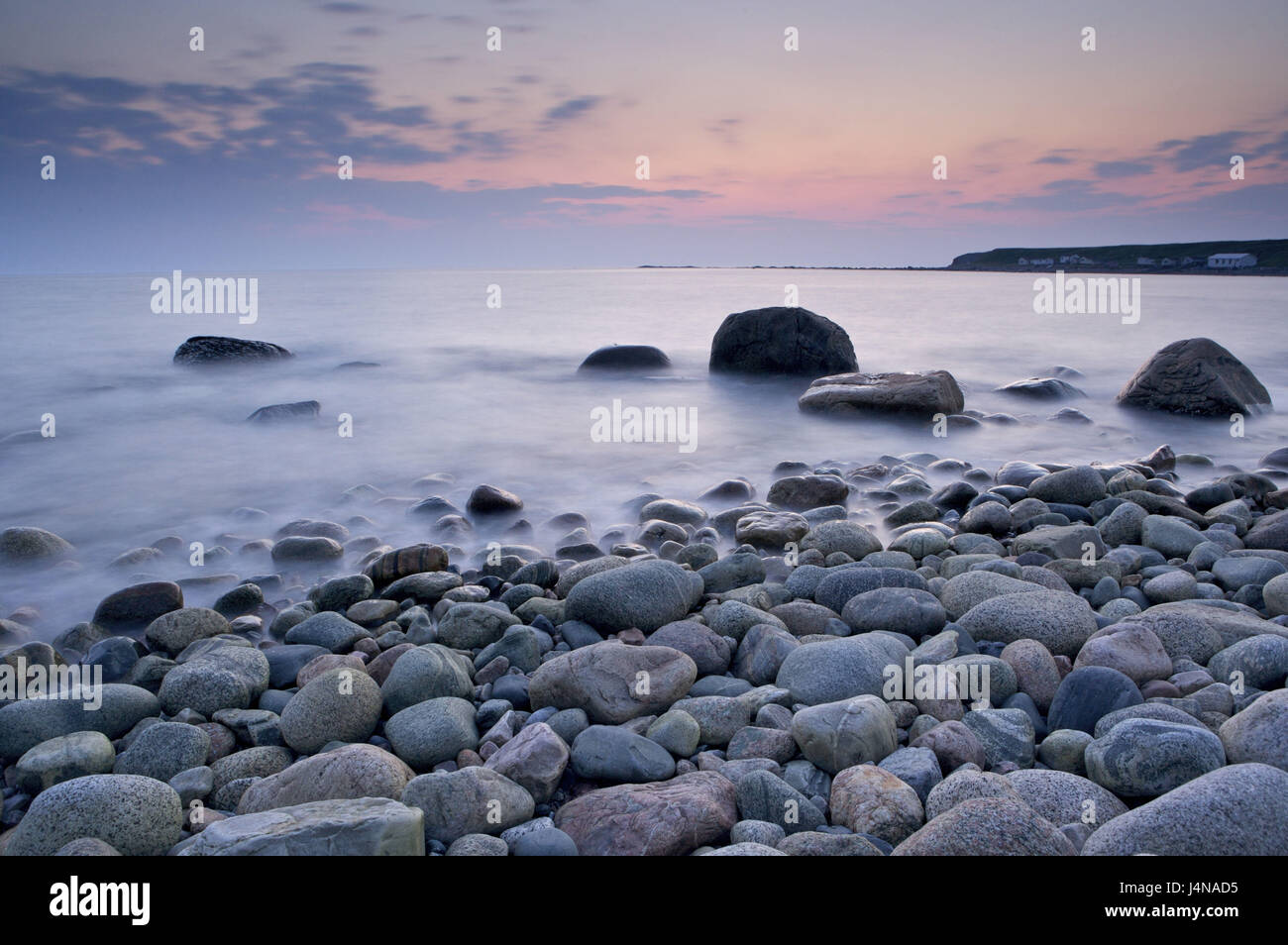 Canada, Newfoundland, gross Morne Nationwide park, Green Point, coast, stones, afterglow, - Stock Image