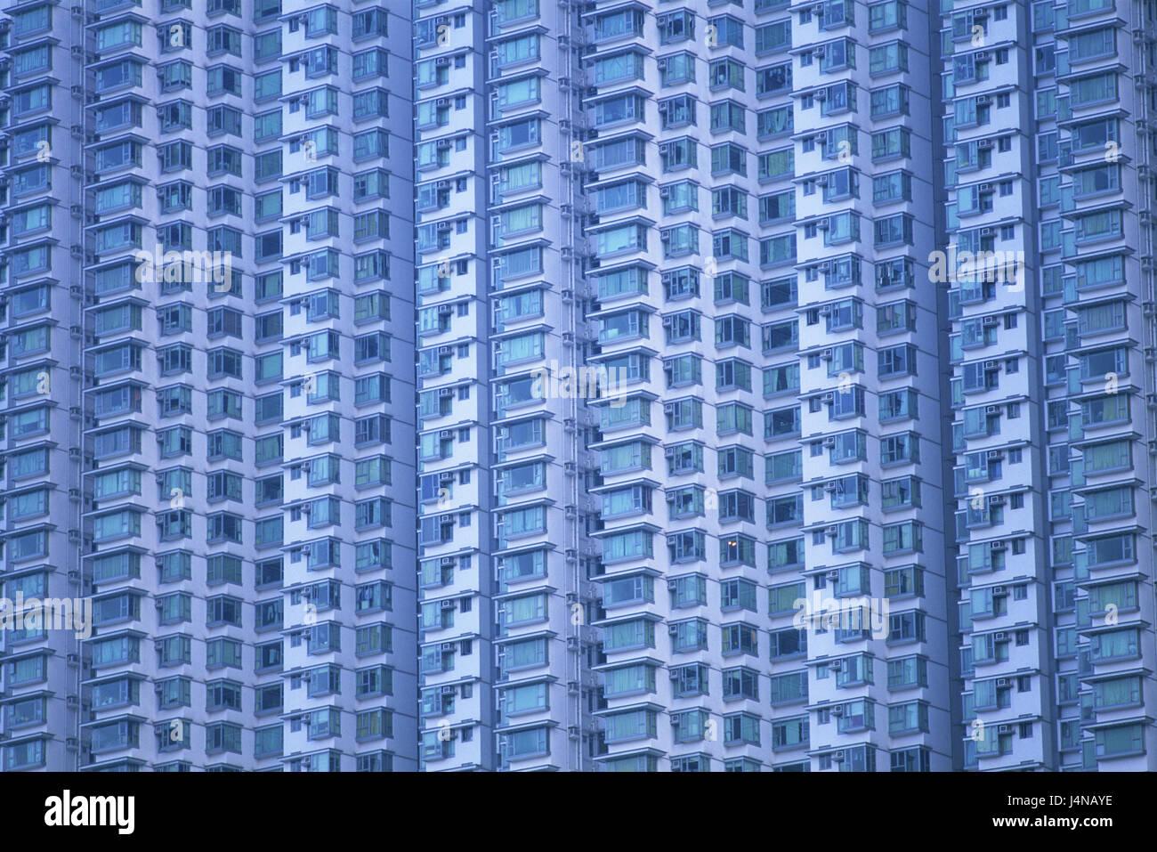 China, Hong Kong, Lantau Iceland, Tung Chung, high rise, facade, detail, Asia, town, island, building, house, residential - Stock Image