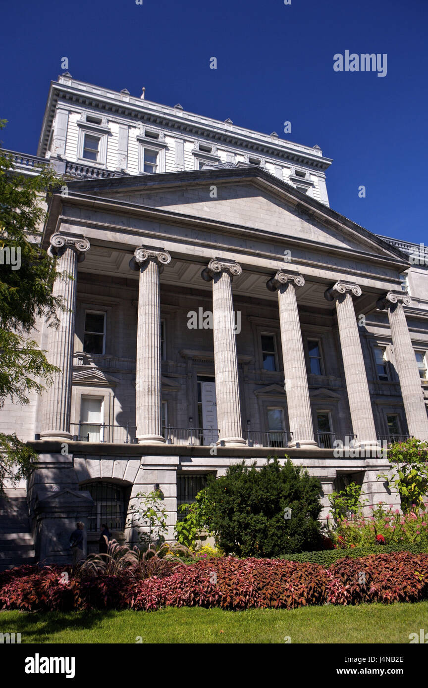 Edifice Lucien-Saulnier, courthouse, Rue Notre lady, Old Town, Montreal, Canada, - Stock Image