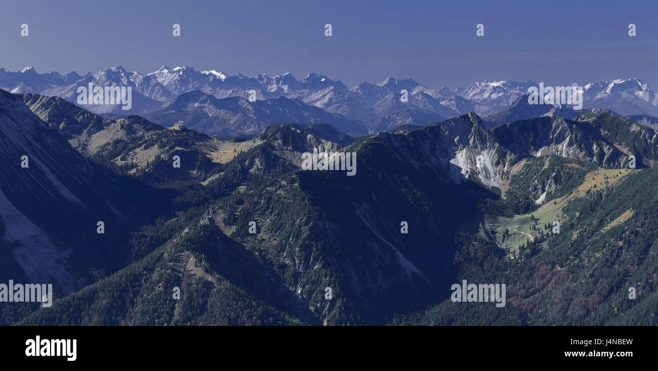Germany, Bavaria, Bayrischzell, panorama of the coil stone, Karwendel, Zugspitzes, scenery, nature, mountains, mountain - Stock Image