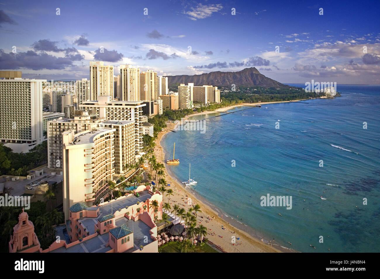 The USA, Hawaii, Oahu Iceland, Honolulu, Waikiki Beach, beach view, the Hawaiian Islands, destination, tourism, - Stock Image