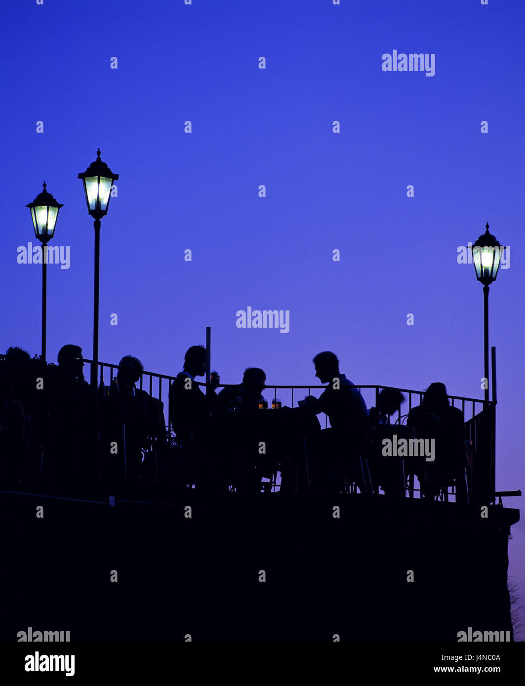 Restaurant, outside, guests, silhouette, evening, leisure time, close, person, bar, gastronomy, summer, tables, - Stock Image