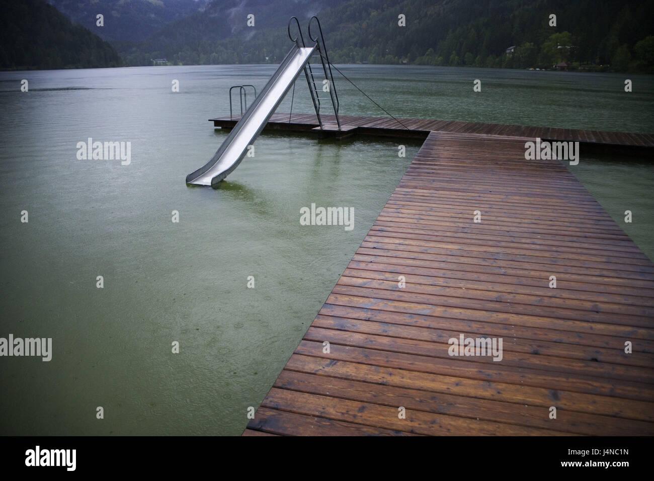 Austria, Styria, Erlaufsee, children\'s slide, bridge, lake, bath ...