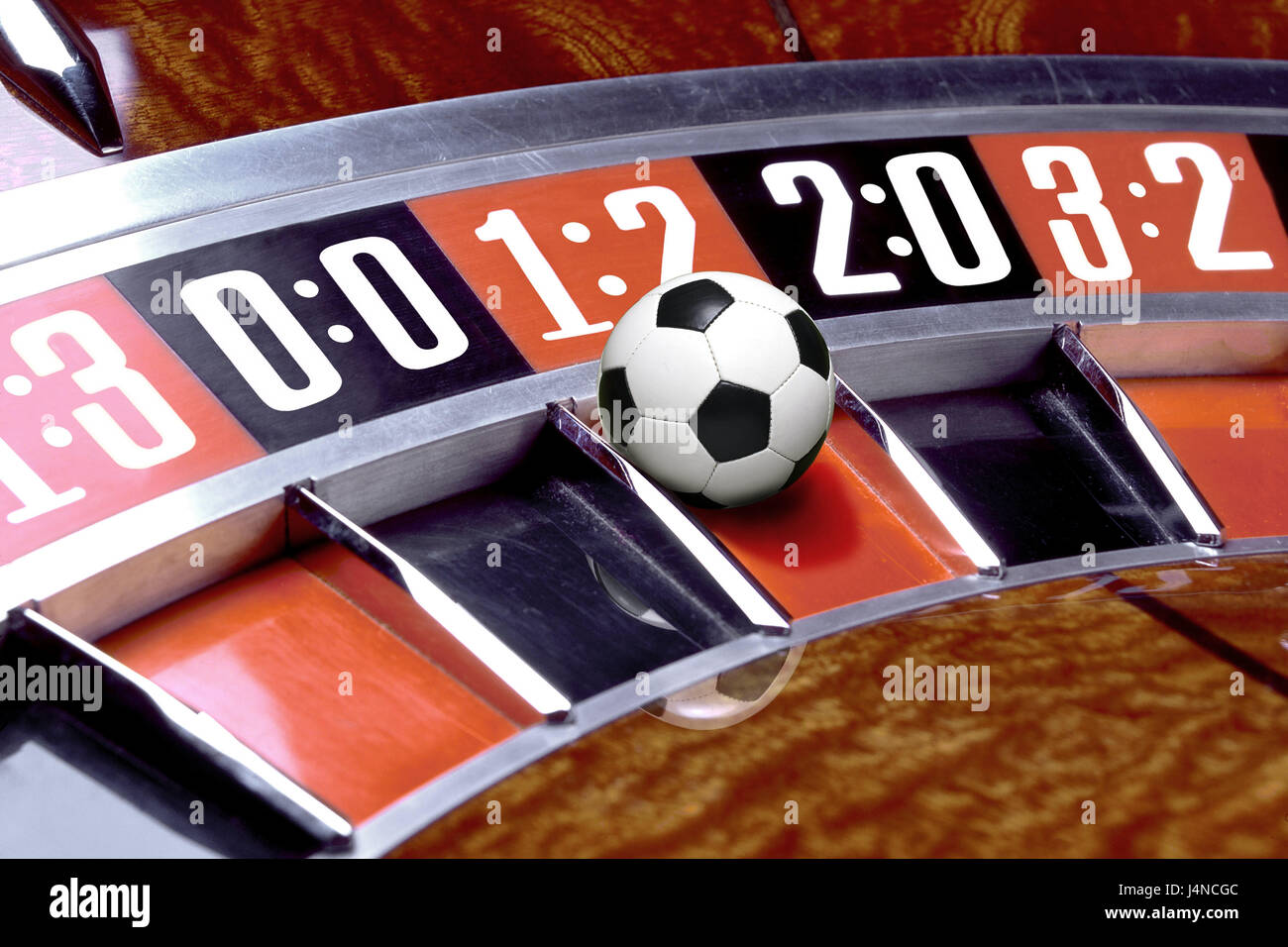 Roulette, football, fields, score, results, detail, luck, chance, game, gate, goals, possibilities, ball, superstition, - Stock Image