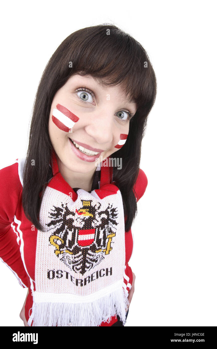Woman, young, football fan, Austria, cheeks, greasepaint, national colours, scarf, half portrait, European Football - Stock Image
