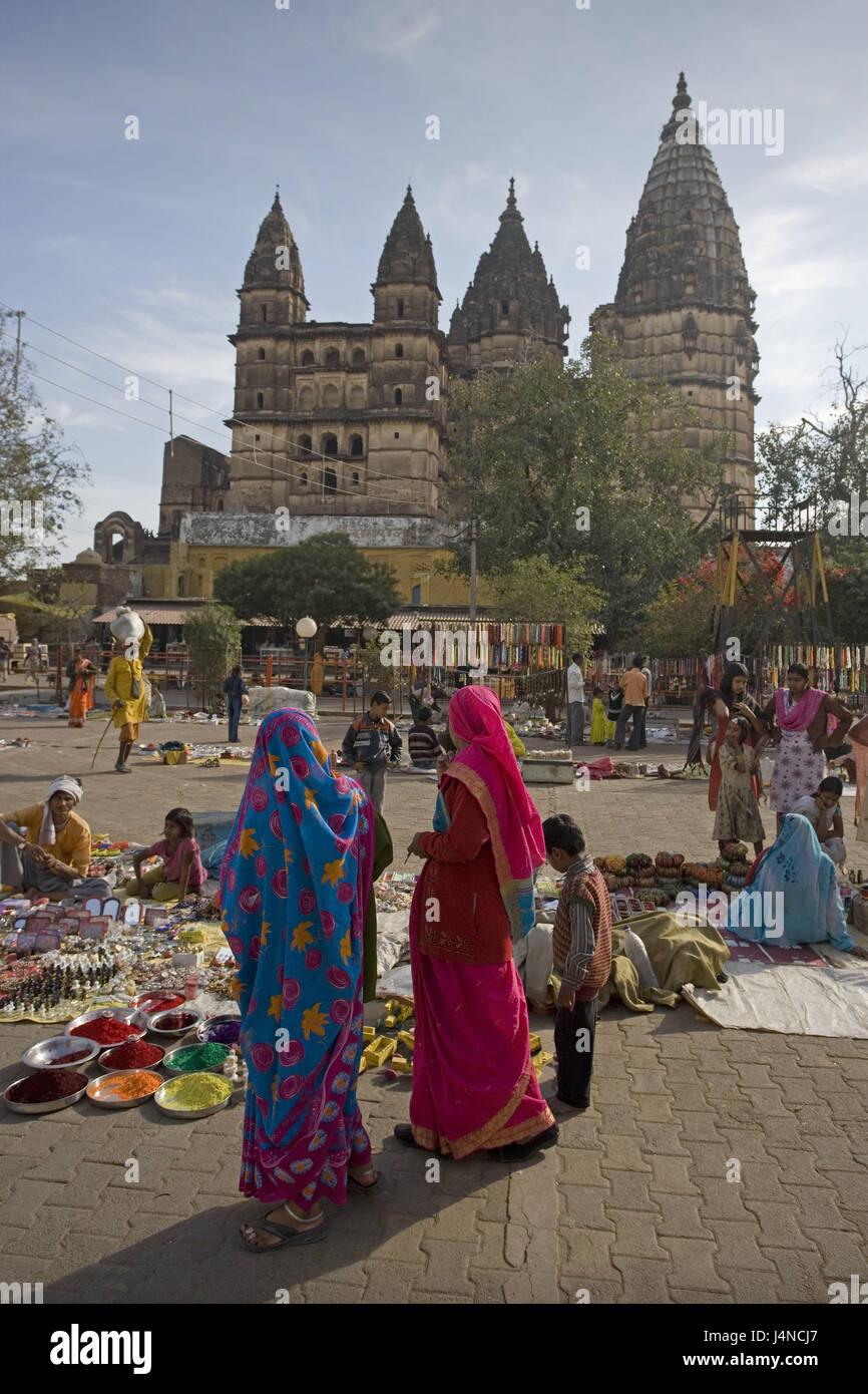 India Madhya Pradesh Orcha Rama Raja Temple Square Market Person