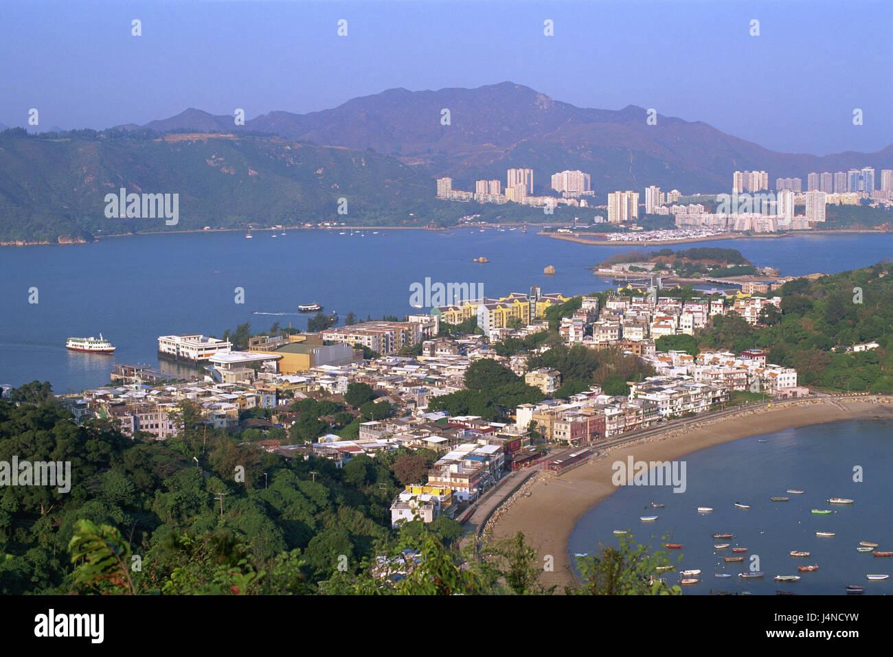 China, Hong Kong, Bang Chau Iceland, background Lantau Iceland, Discovery Bay, sea, Asia, town, island, coast, coastal - Stock Image