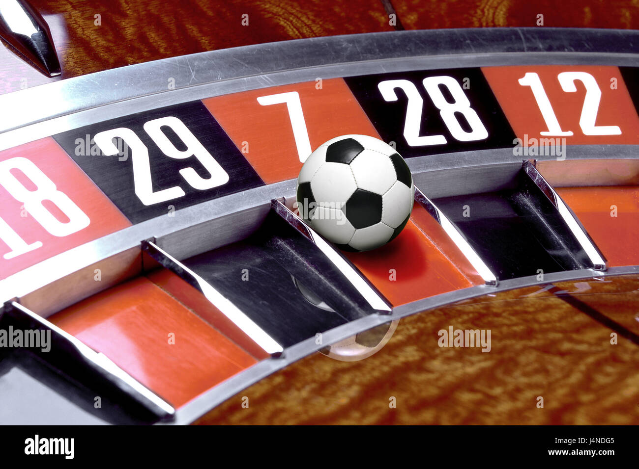 Roulette, football, fields, result, detail, luck, chance, game, gate, goals, possibilities, ball, superstition, - Stock Image