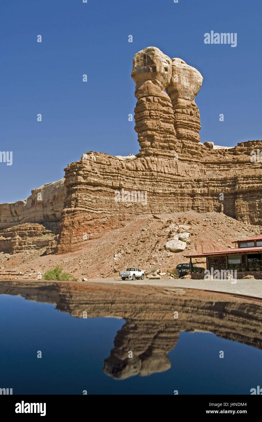 The USA, Utah, bluff, Twin of rock, post-office buildings, car, water surface, mirroring, - Stock Image