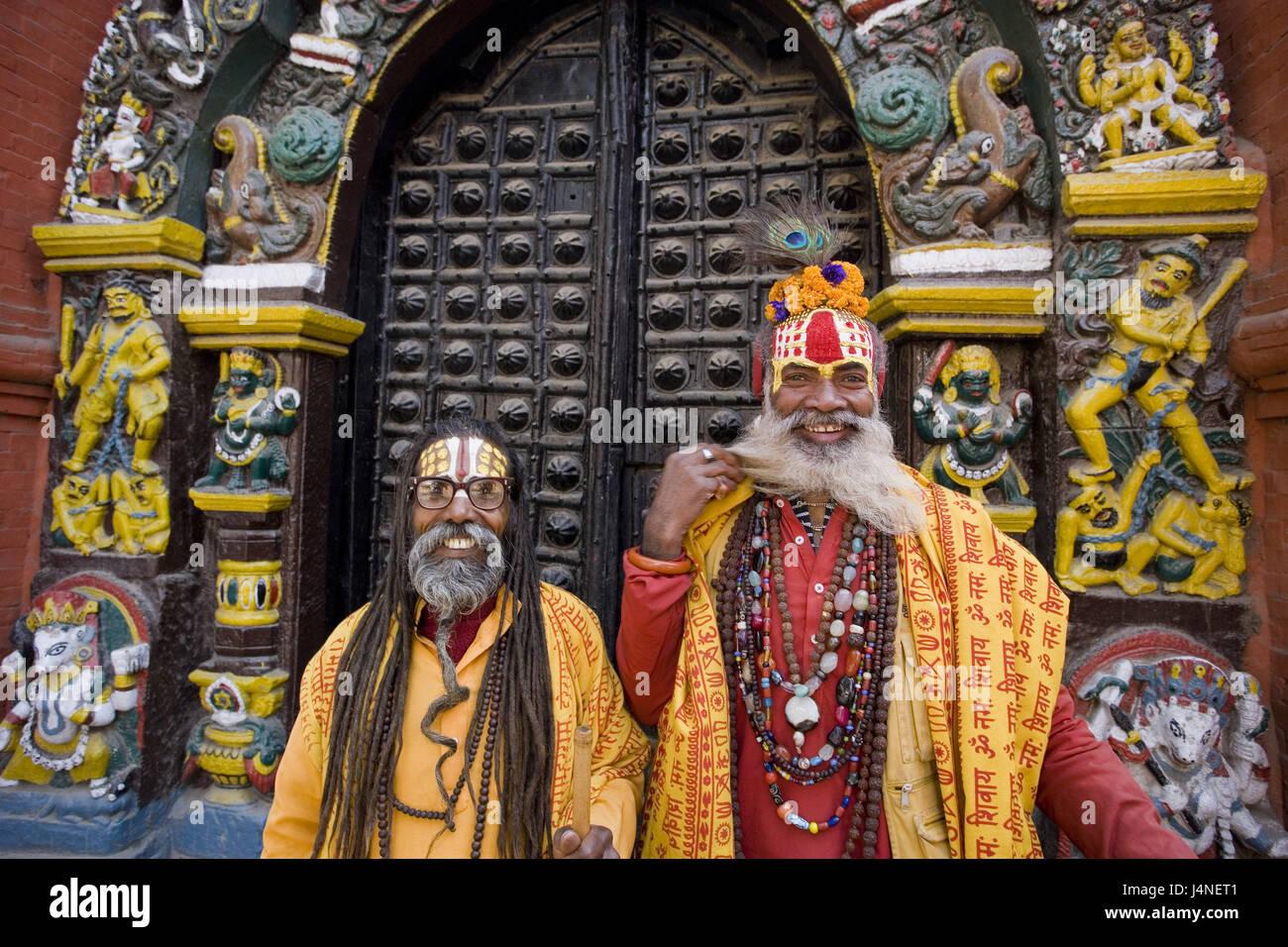 Nepal, Katmandu, Durbar Square, Sadhus, smile, portrait, - Stock Image