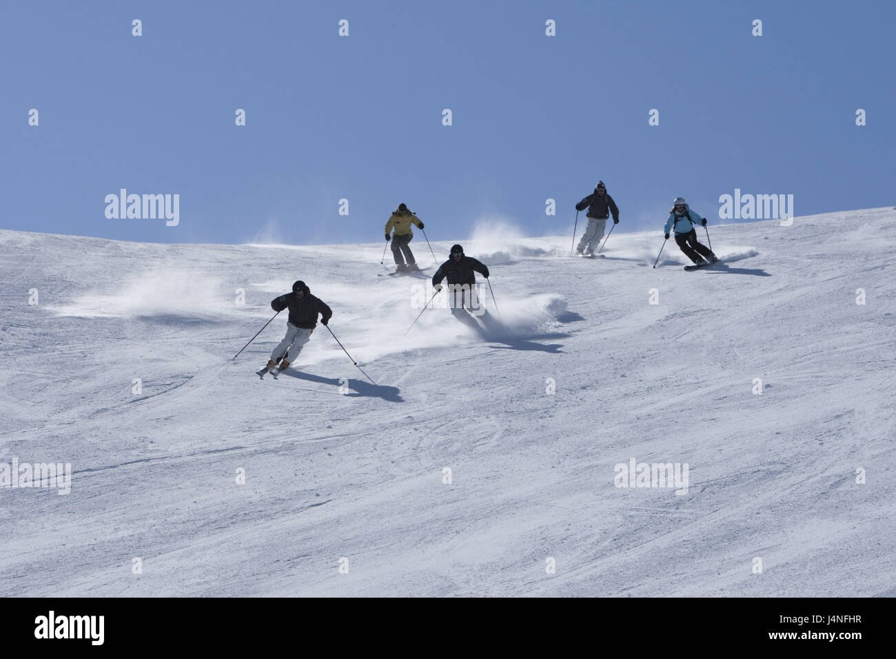 Switzerland, the Engadine, Bernina group, Diavolezza, skiing area, runway, skier, five, - Stock Image