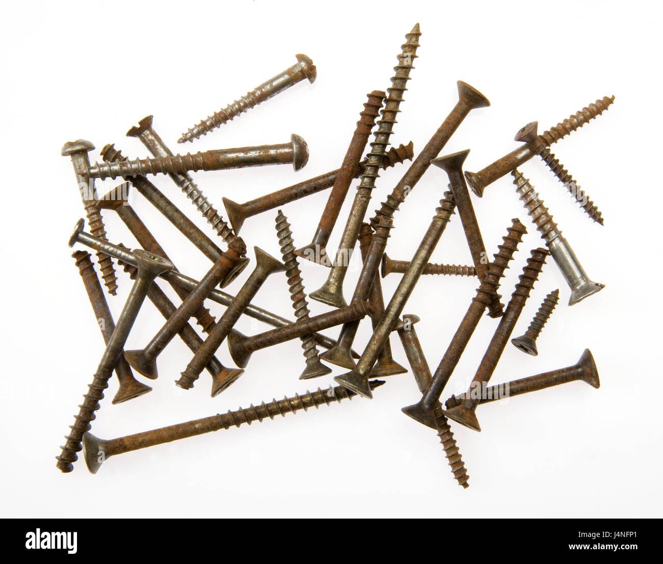 Screwing, rusty, tools, iron, metal, scrap iron, scrap metal, iron cuts, rust, waste, scrap metal, rusts, there - Stock Image