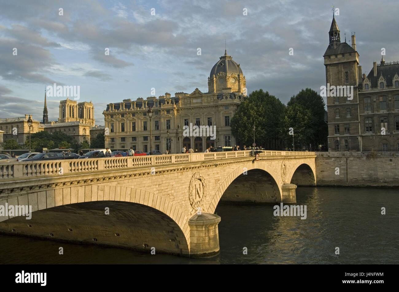 France, Paris, Pont ouch Change, commercial court, Conciergerie, Notre lady, sundown, - Stock Image