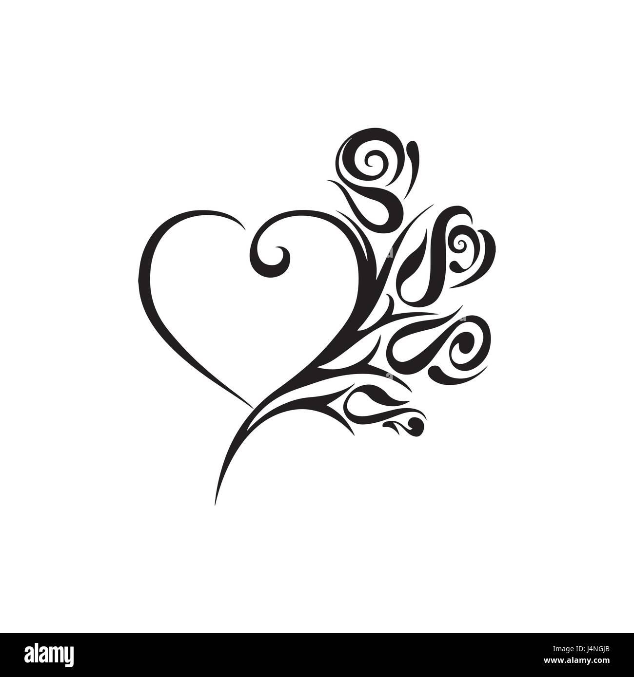 Heart Shape Heart Clock Tattoo Design