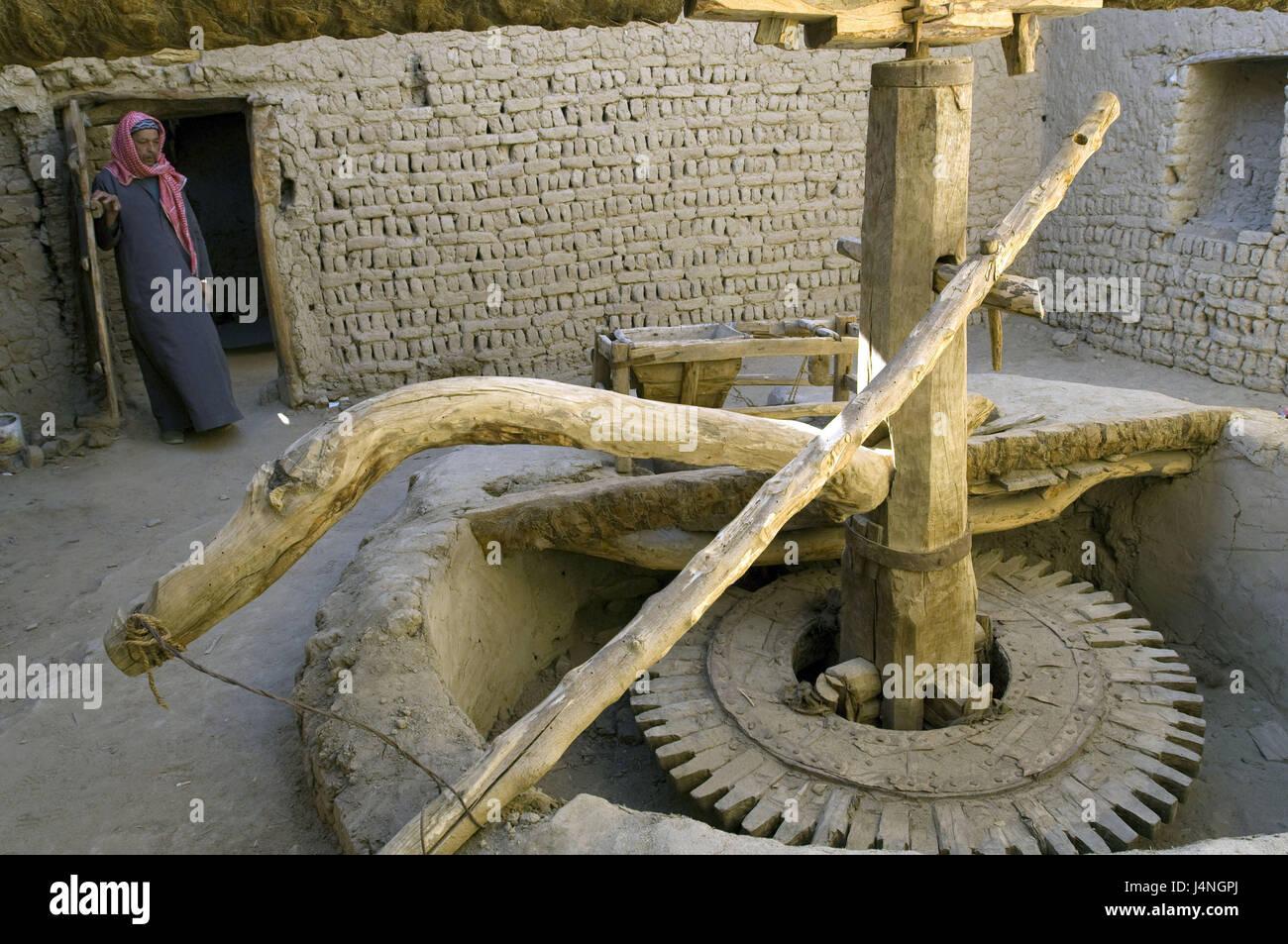 Egypt, desert, Dakhla oasis, El-Qasr, grain mill, Egyptian, no model release, - Stock Image