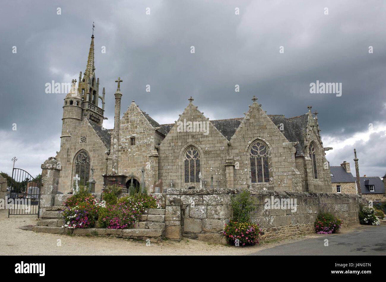France, Brittany, Tredrez, church, Stock Photo