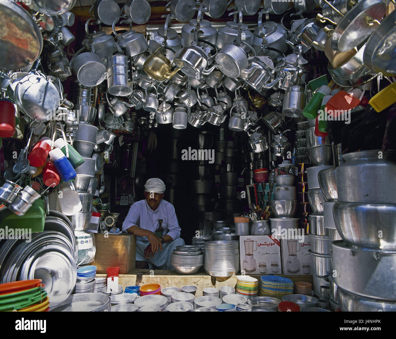Yemen, Sanaa, Old Town, business, dealer, household articles, the Near East, capital, Yemen, East, local, person, - Stock Image