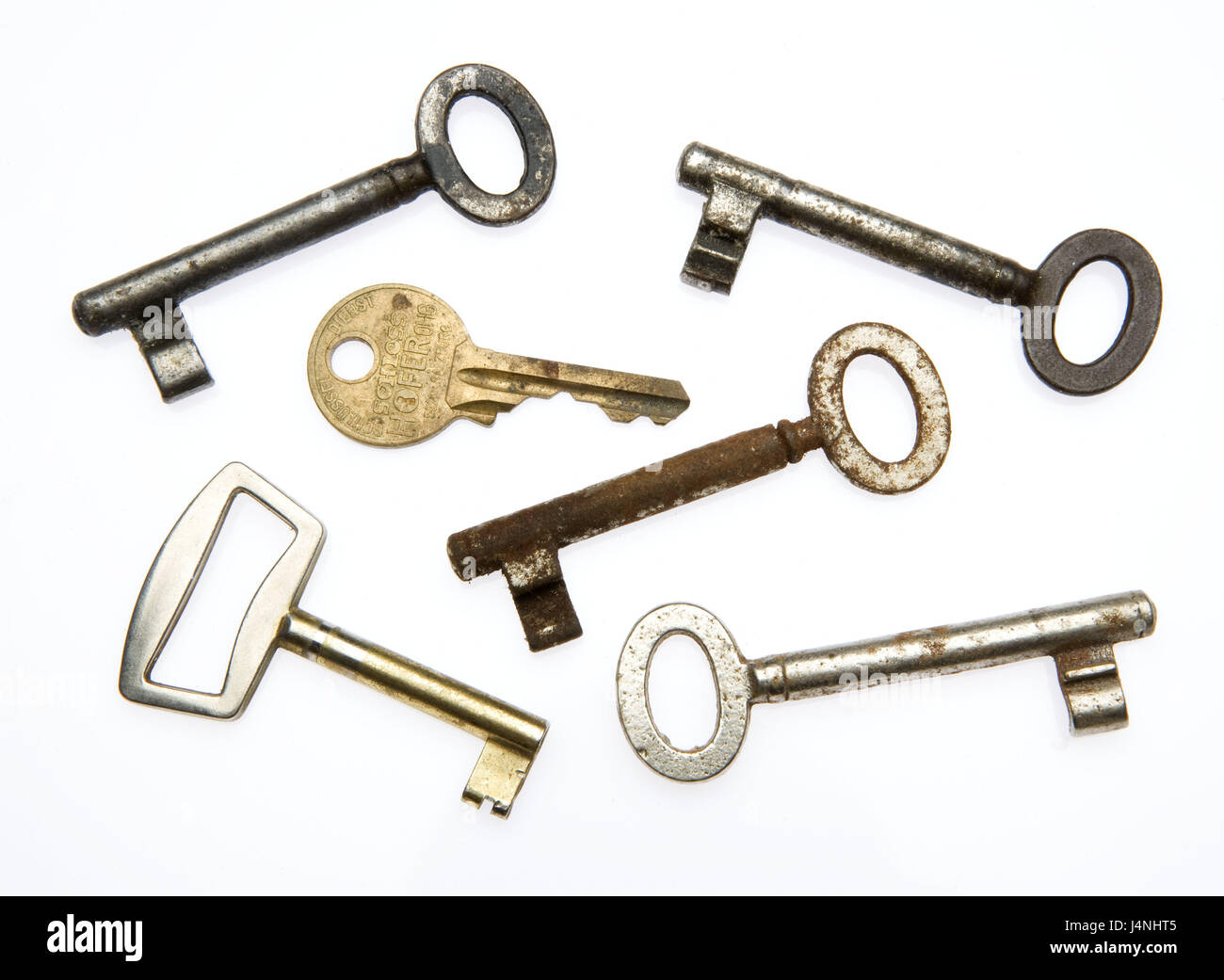 Keys, old, different, beard keys, metal keys, rusty, use tracks, icon, lock, lock up, unlock, open, seal, security, - Stock Image