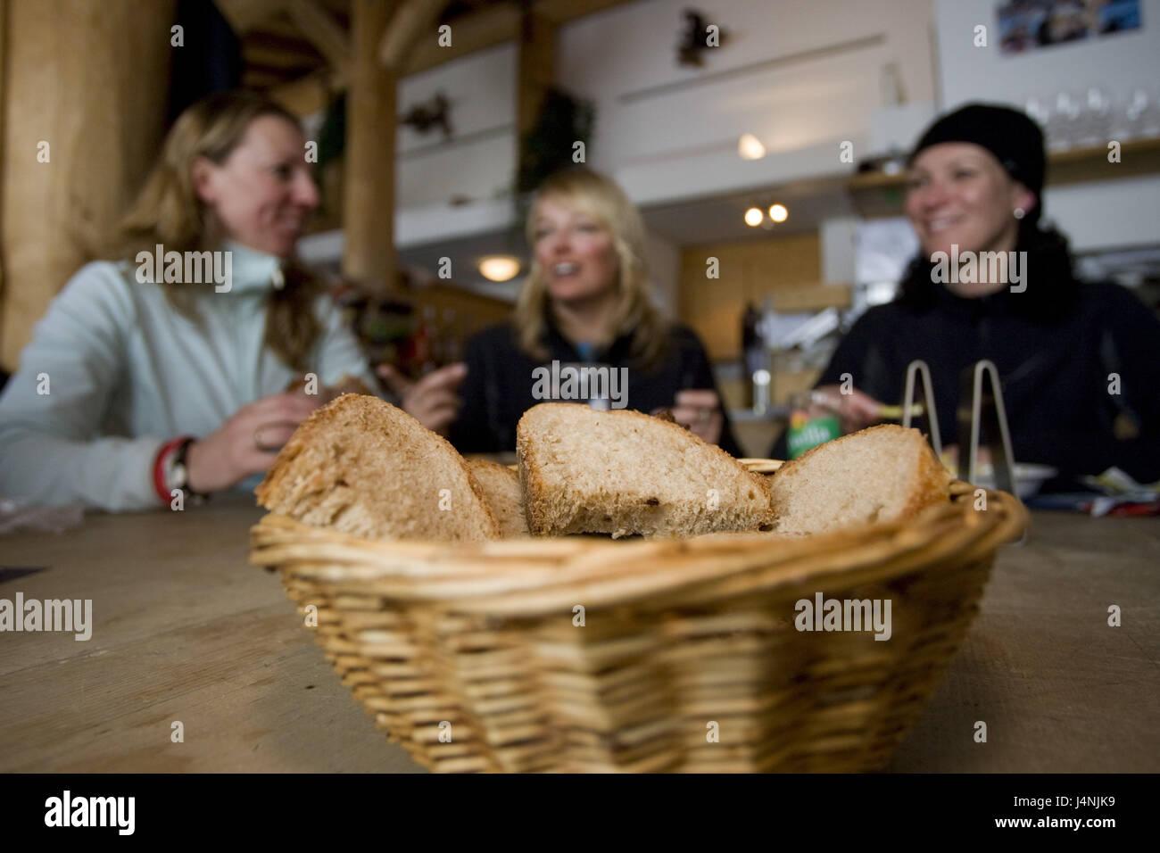 Ski steelworks, women, smile, entertainment, bread basket, blur, - Stock Image