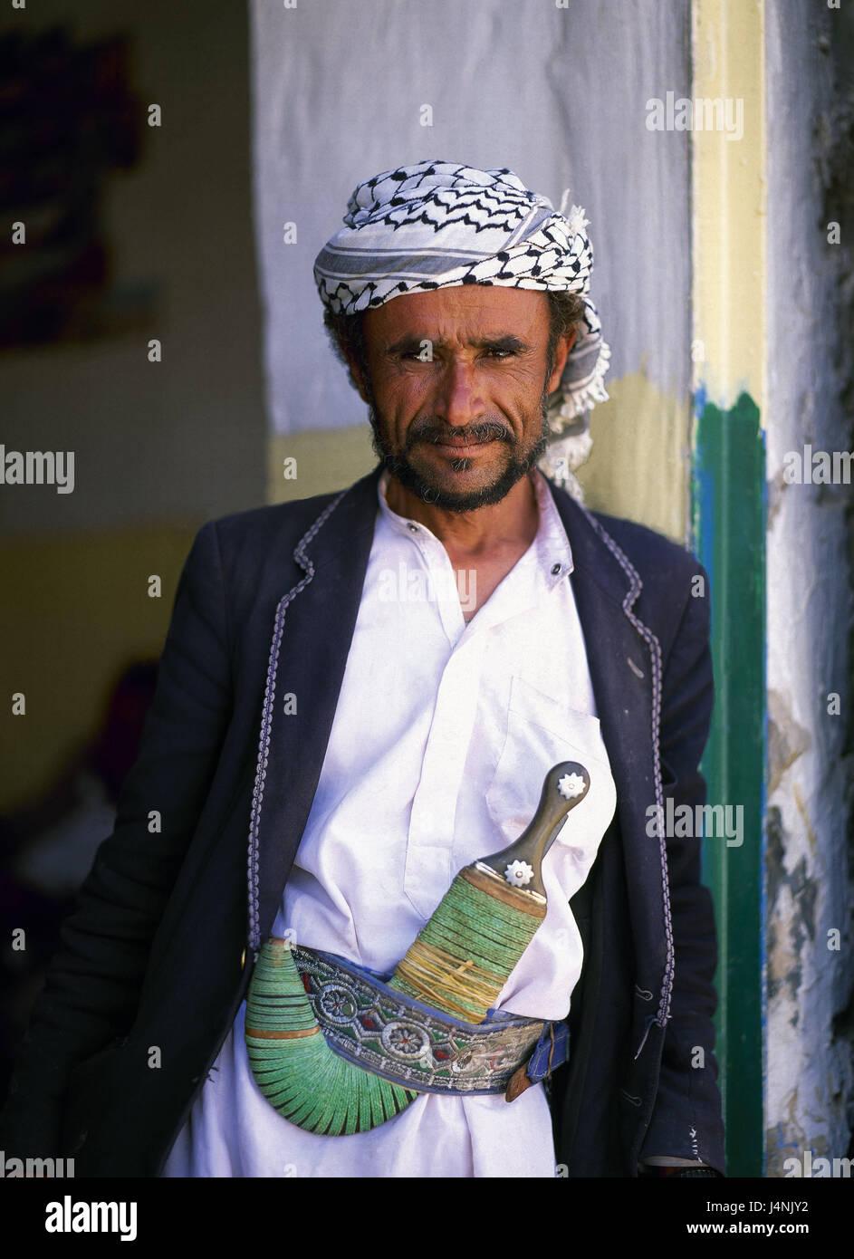 Yemen, Sanaa, man, crooked dagger, half portrait, the Near East, capital, Yemen, East, local, person, Arab, Yemeni, - Stock Image