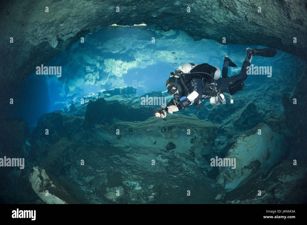 Diving in the Cenote' Chac Mool', Playa del Carmen, Yucatan peninsula, Mexico, - Stock Image