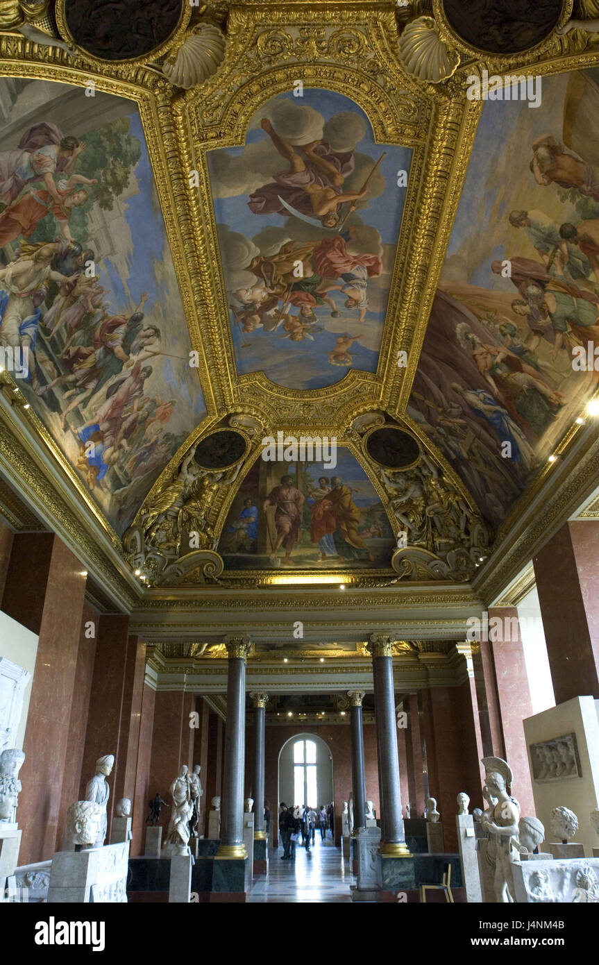 France, Paris, Musee you Louvre, hall 23, visitor, - Stock Image