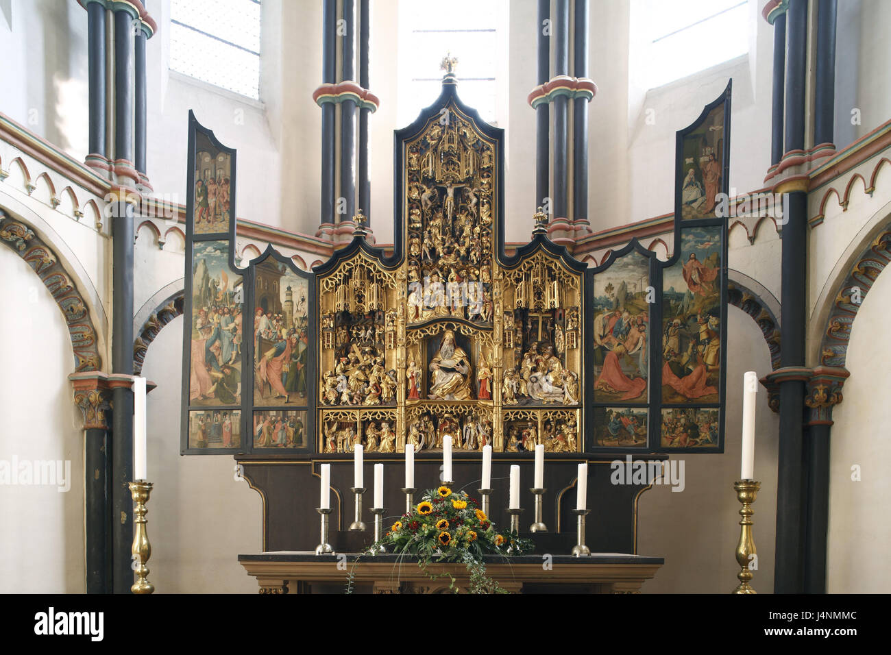 Germany, Rhineland-Palatinate, cathedral May field, church, interior view, altar, May field, Eifel, Rhineland, the - Stock Image