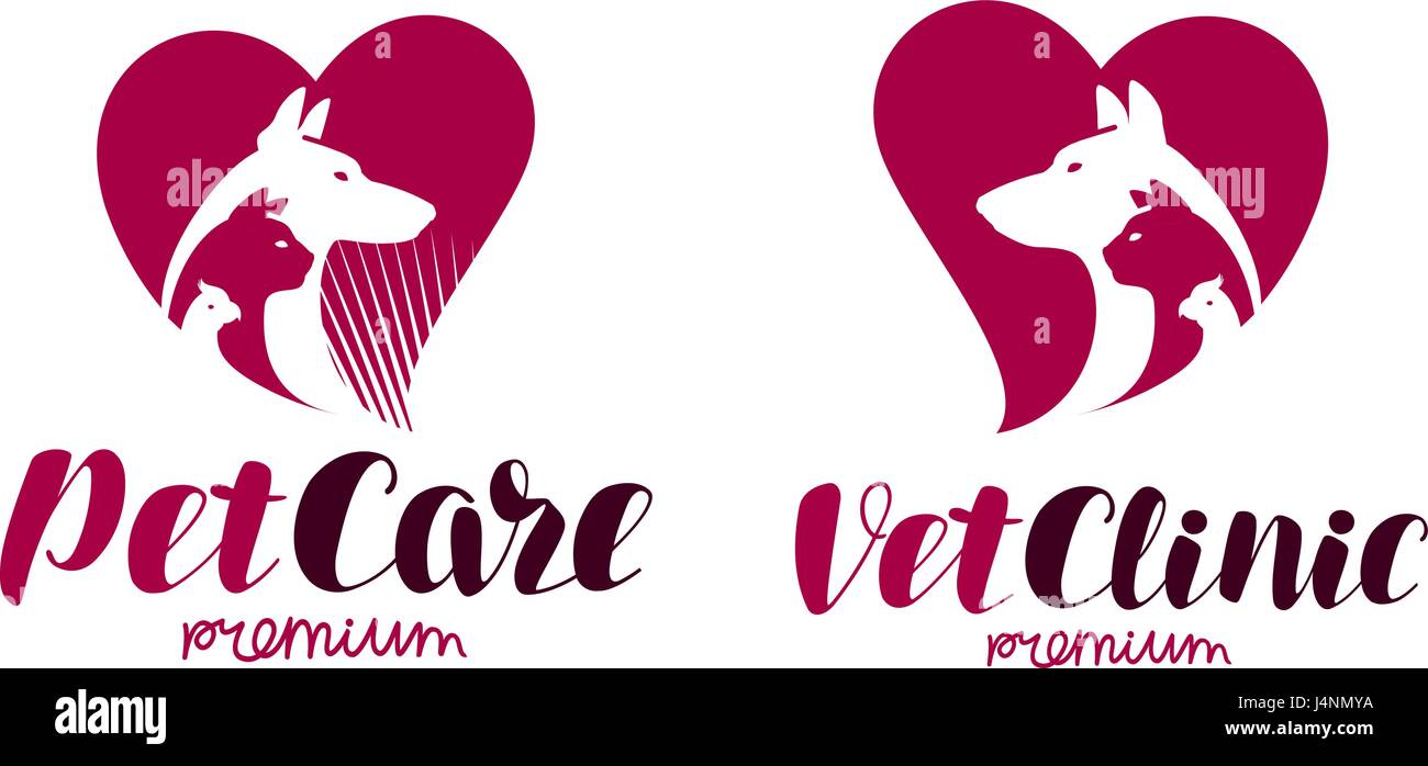 Vet clinic, pet shop logo. Animals, dog, cat, parrot icon or label. Lettering vector illustration - Stock Image
