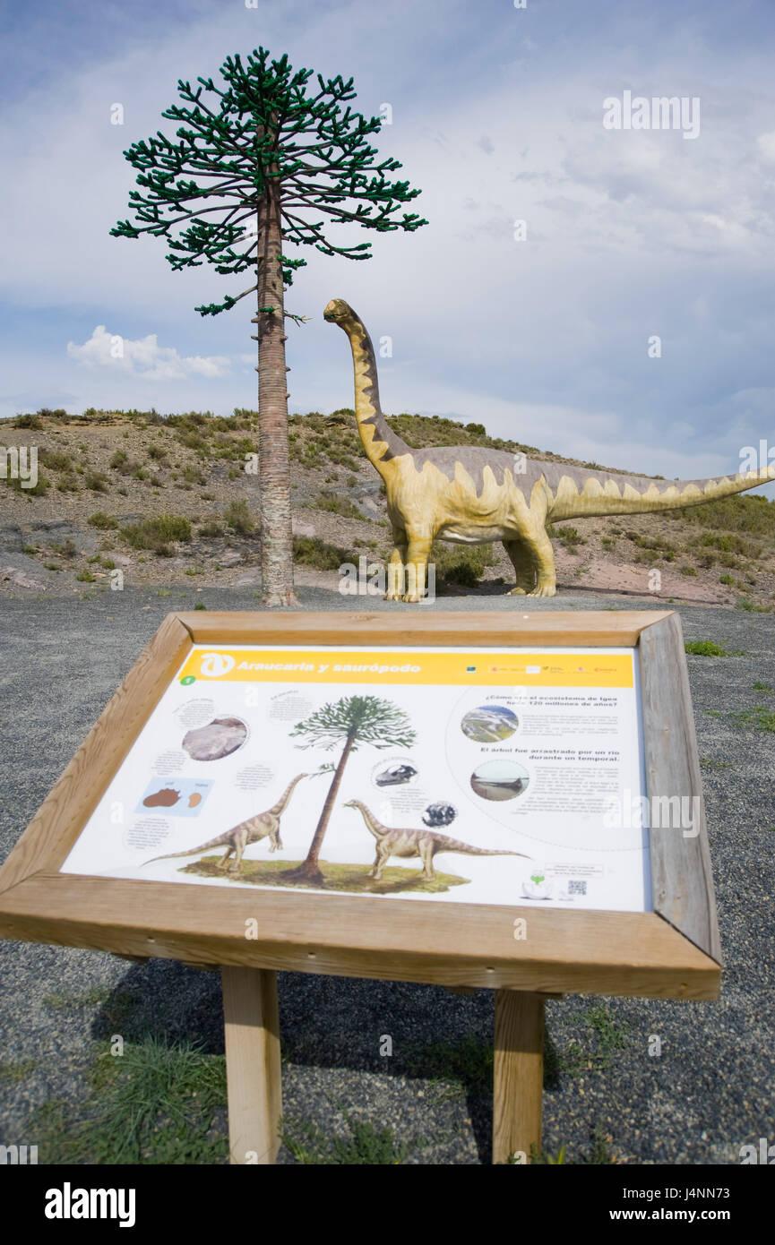 Replica of sauropod camarasaurus eating leafs of araucaria conifer tree near IGEA village, La Rioja, Spain. sauropoda Stock Photo