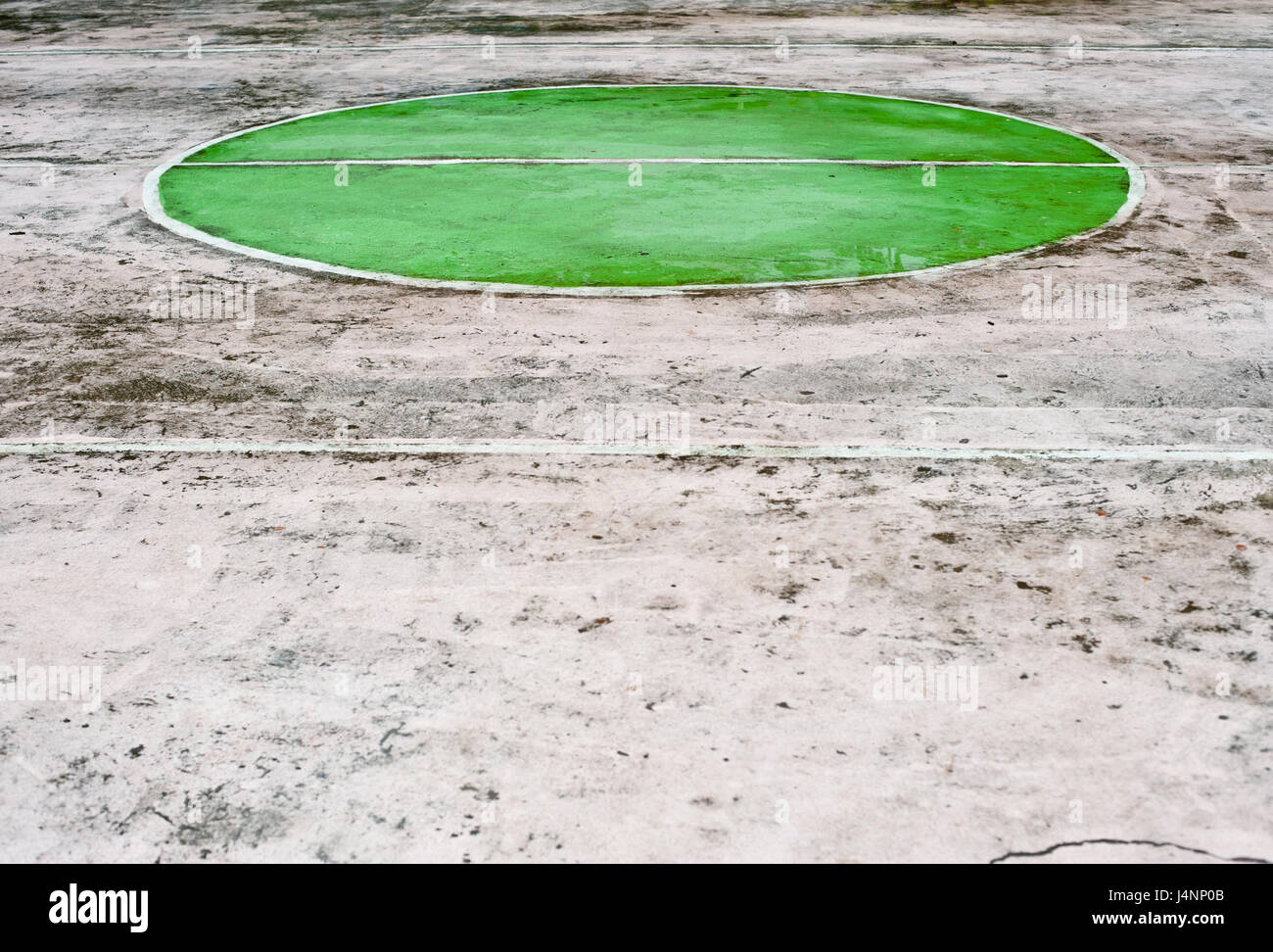 Abstract sports floor showing markings colorful for different games, multi-sport painted on court - Stock Image