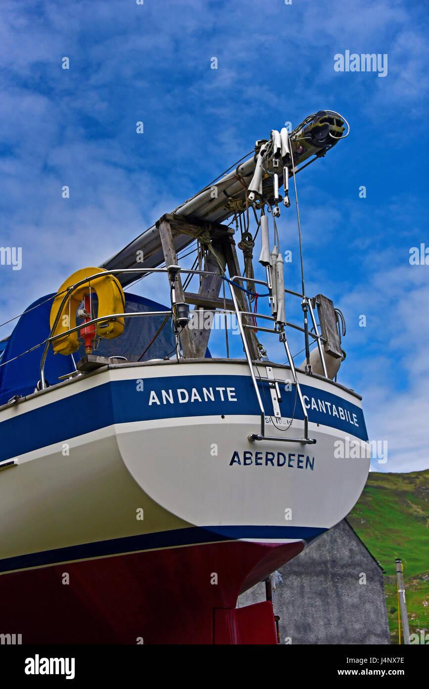 """Andante Cantabile"". Detail of yacht. Stromeferry, Loch Carron, Ross, Skye and Lochaber, Scotland, United Kingdom, Stock Photo"