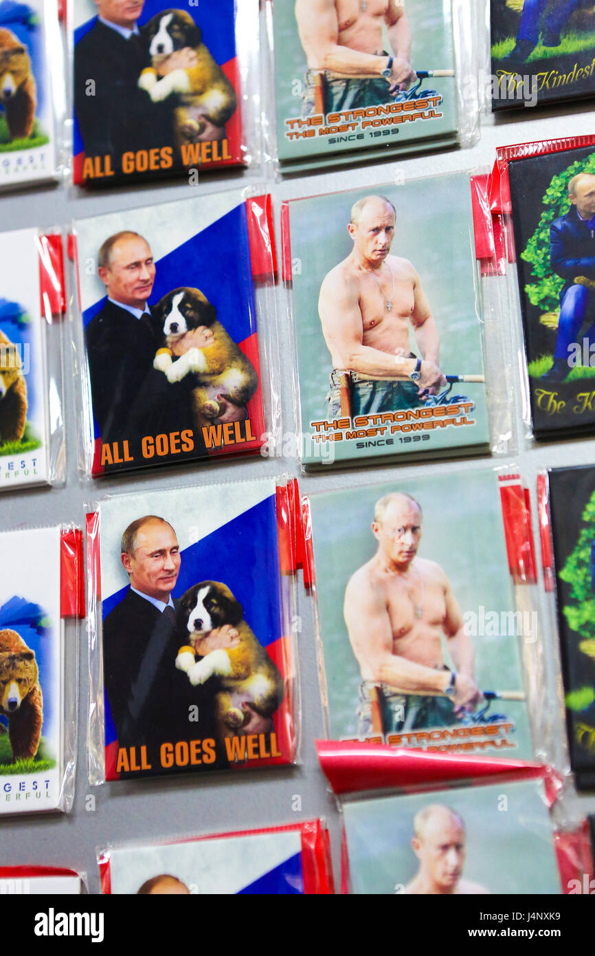 Souvenirs in St Petersburg depicting Russian President Vladimir Putin, with the texts 'All Goes Well' and - Stock Image