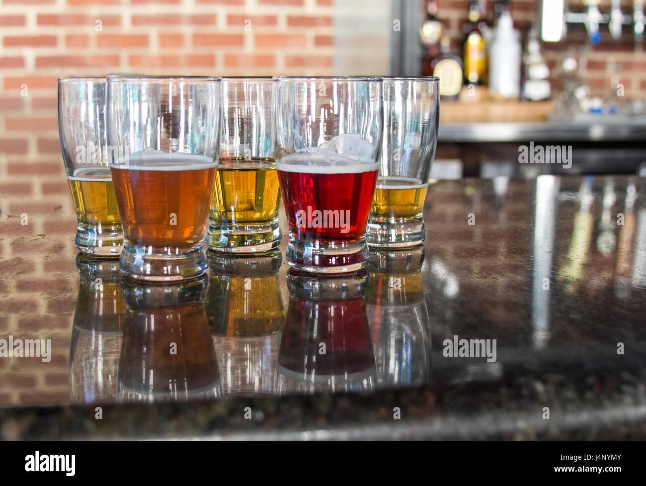 flight of beer - Stock Image