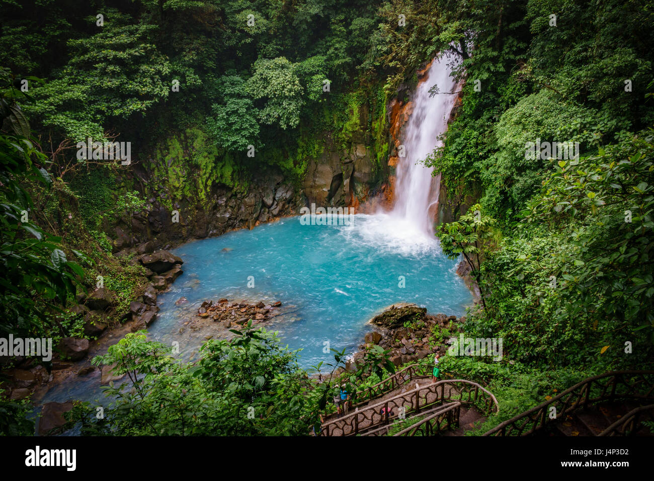Celestial blue waterfall in volcan tenorio national park costa rica - Stock Image