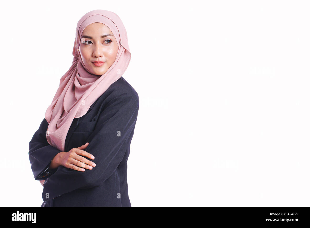 Half length portrait of business woman smile while posing with different body language isolated on white background - Stock Image