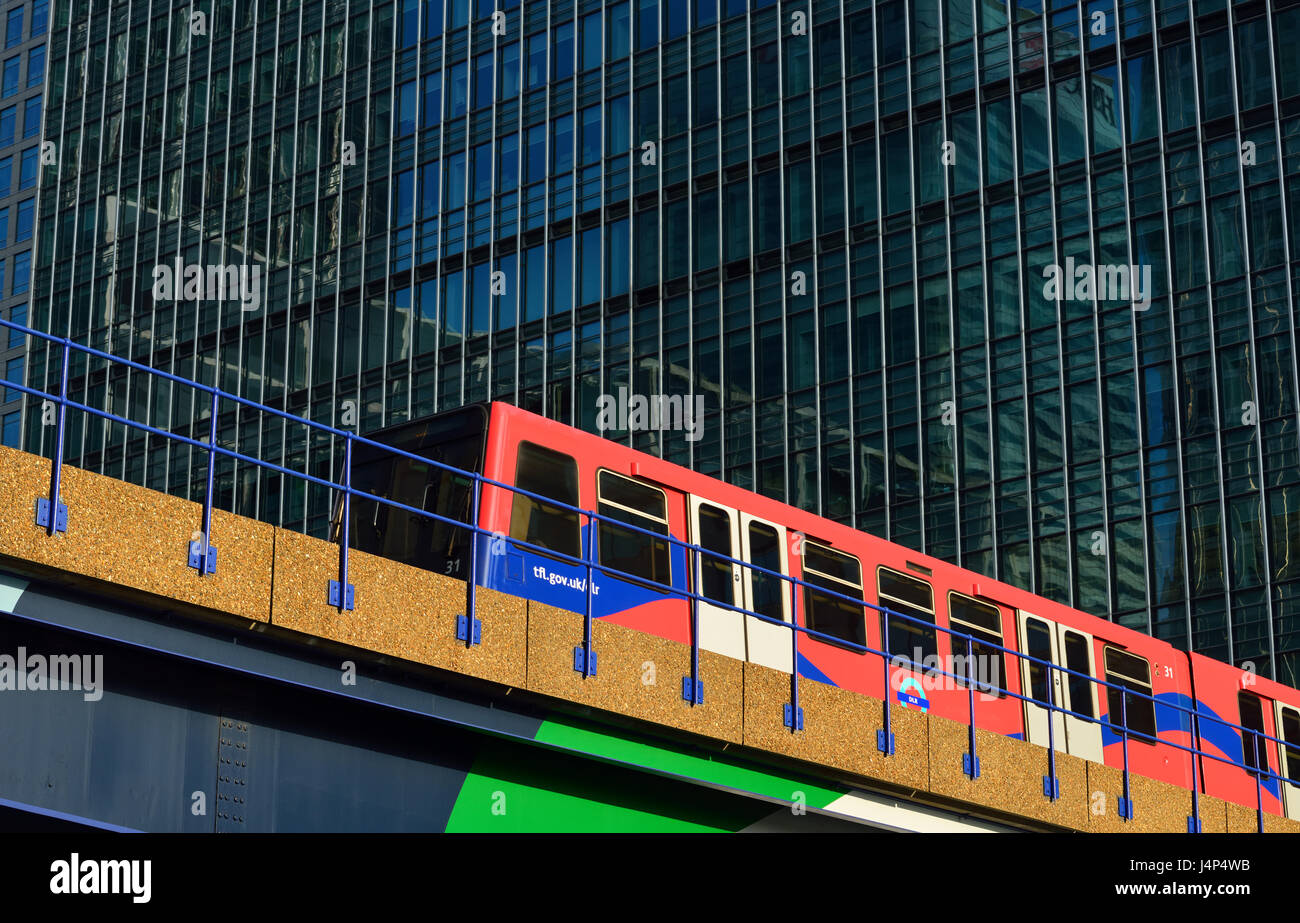 Docklands Light Railway (DLR), Canary Wharf Estate, London E14, United Kingdom - Stock Image