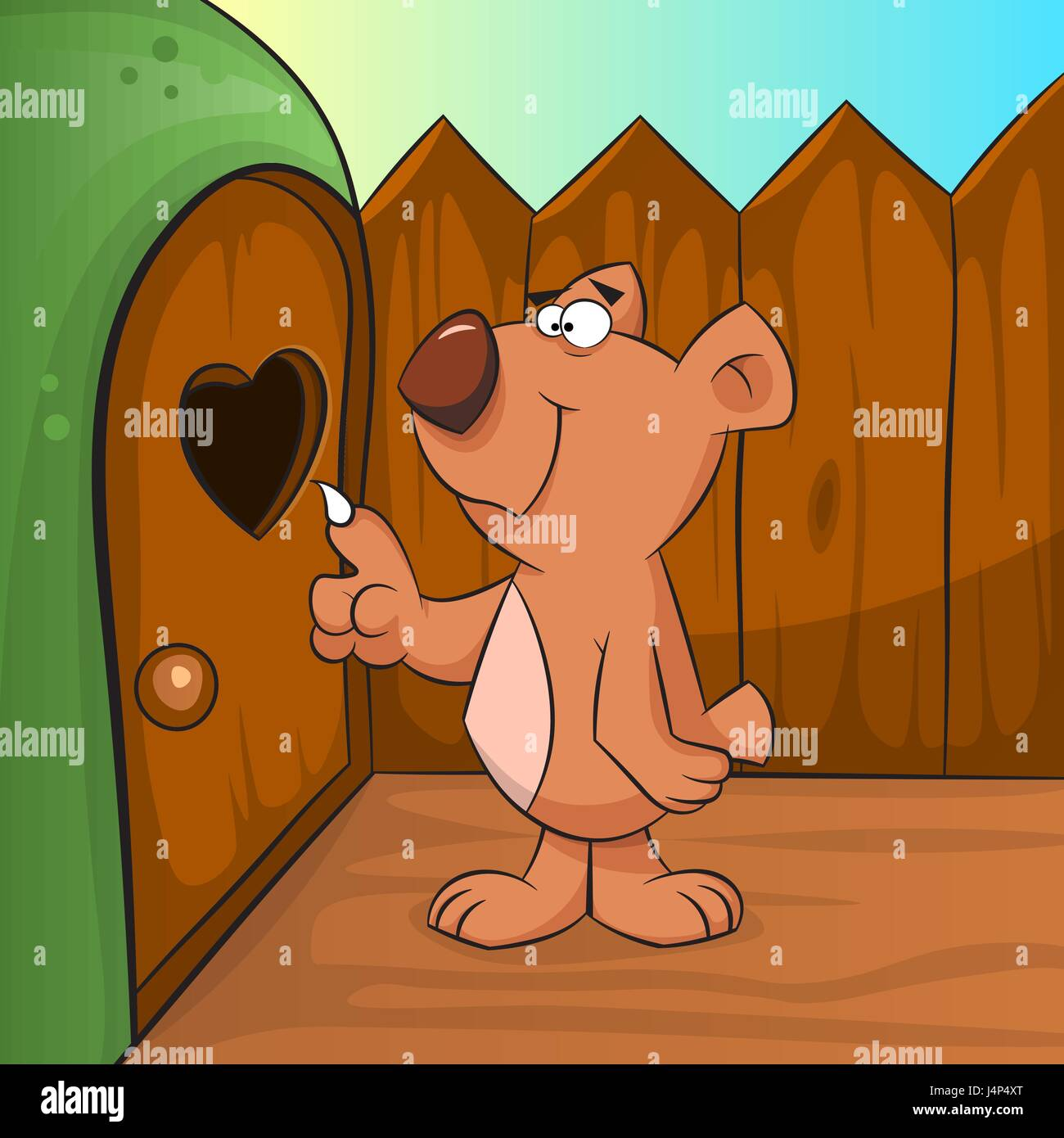 Cute brown bear knocking into the den. - Stock Image