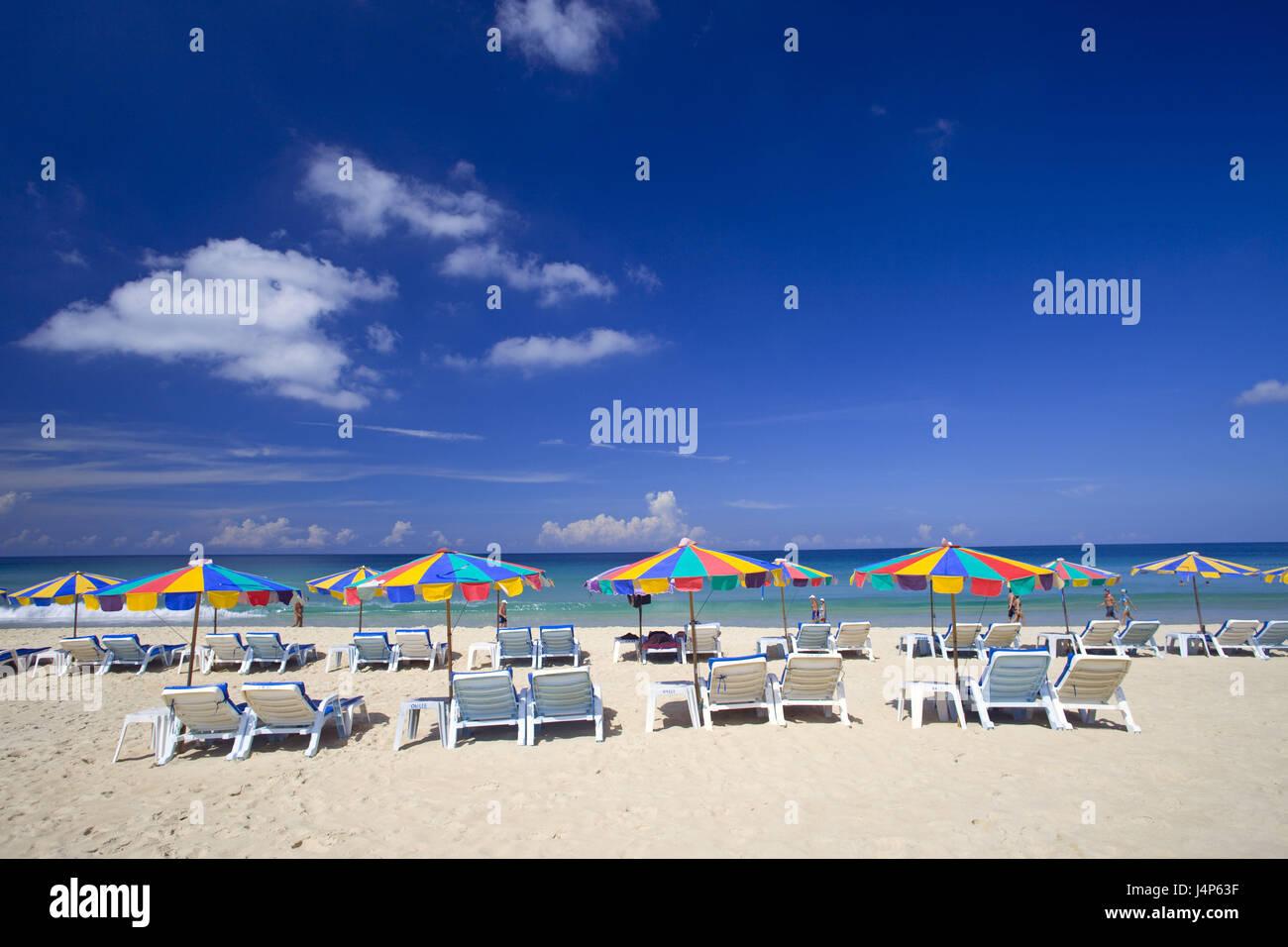 Thailand, Phuket, Karon Beach, deck chairs, sunshades, - Stock Image