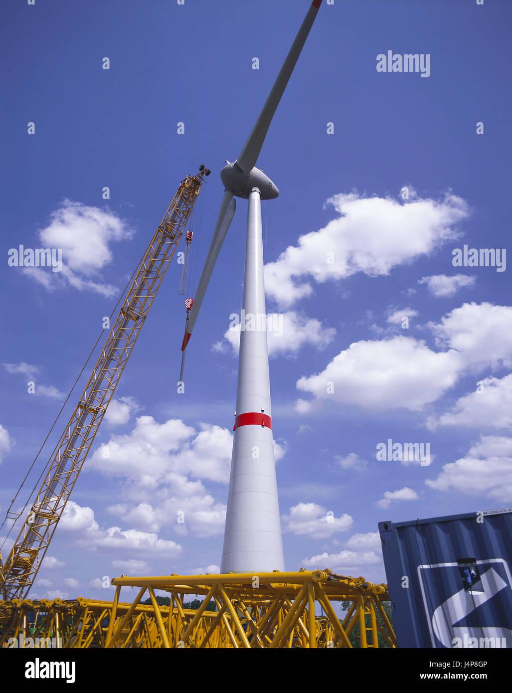 Germany, Hamburg-Altenwerder, wind turbine, crane, new building, North Germany, Hamburg, Altenwerder, electricity, Stock Photo