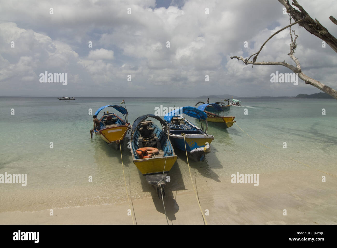 Boots, coast, Indian ocean, Havelock Insel, Andamanen, India, - Stock Image